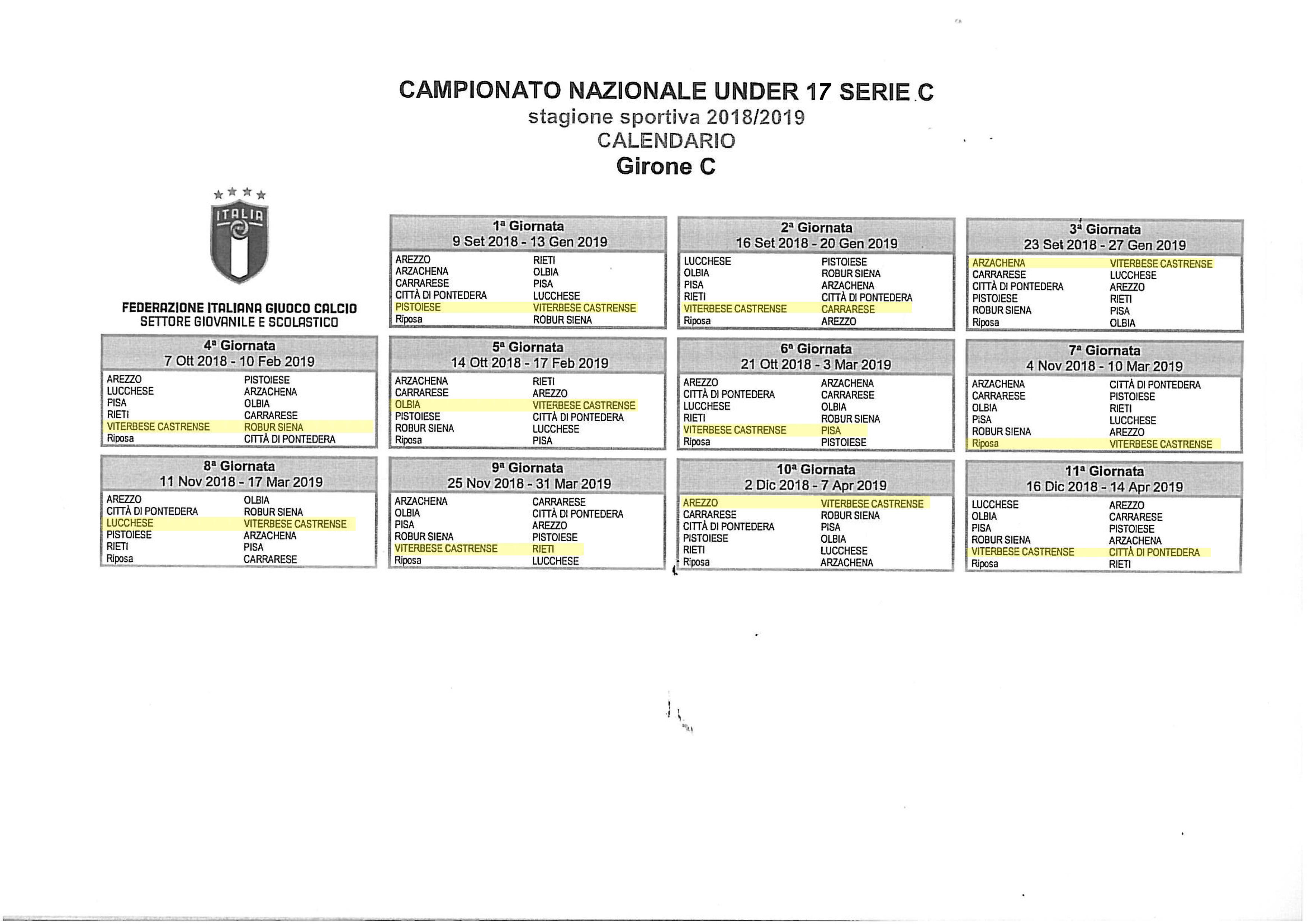 Calendario Under 17.Calendario A S Viterbese Castrense