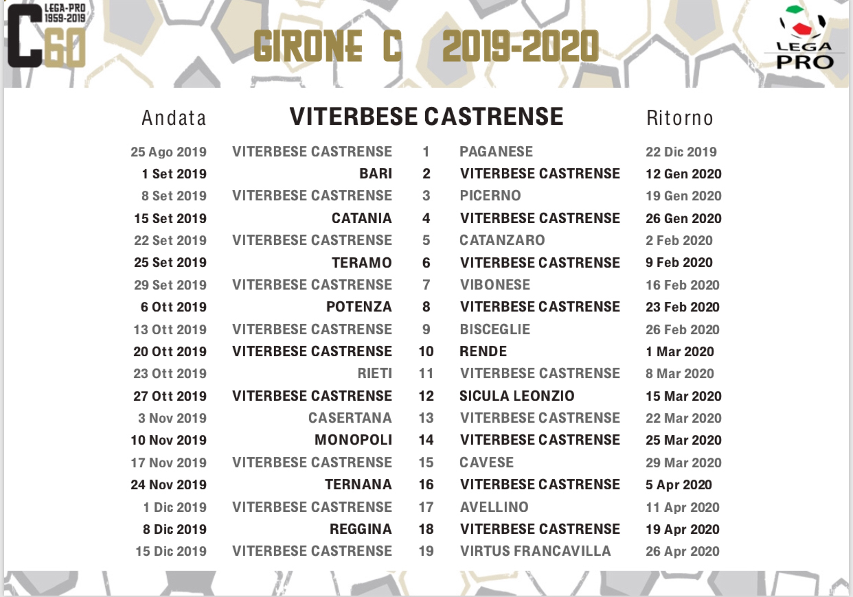 Calendario Reggina 2020.Pubblicati I Calendari Del Girone C 2019 2020 Prima Gara In